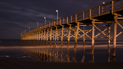The Ocean Isle Beach pier as seen at night. This photo was taken around 3am using a very long exposure and a chilled Canon camera to reduce camera 'noise'. In the original exposure, only one of the pier lights was actually on, the others are Photoshop additions....can you tell which one is the real one?