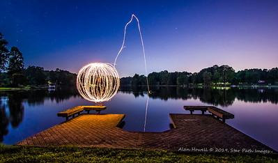 Light orb spinning with sparklers.