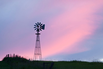 Windmill at sunset horizontal, Washinton state, Palouse country