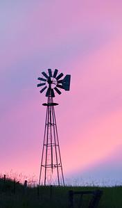 Windmill at sunset, vertical, Washington state, Palouse country