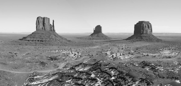 "Black and White gives a different feel - the red foreground is missing and the buttes seem much farther away - more remote - more rugged - more ""West""."