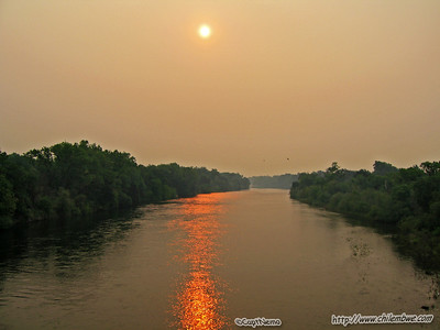 American River 6-27-2008 Still smoky from the fires all over California.