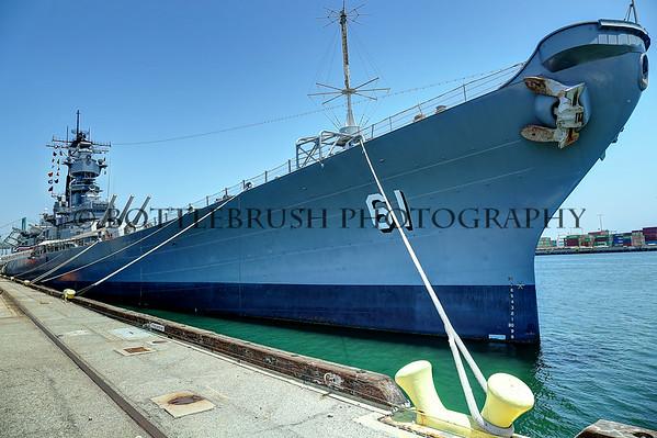 USS Iowa Battleship docked in San Pedro, Ca.