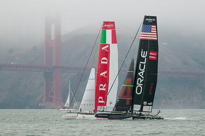 Match racing - right before the start.  Oracle has the favored spot below Prada where they can bear off to get speed first and have the inside position at the first mark