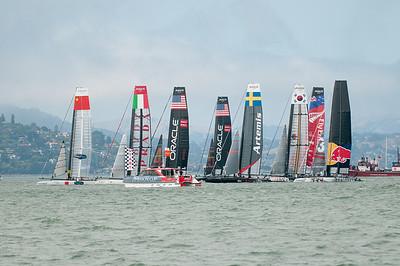 Prestart maneuvers as boats jockey for position for the fleet race start