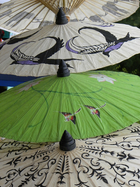 Pretty parasols, green and purple