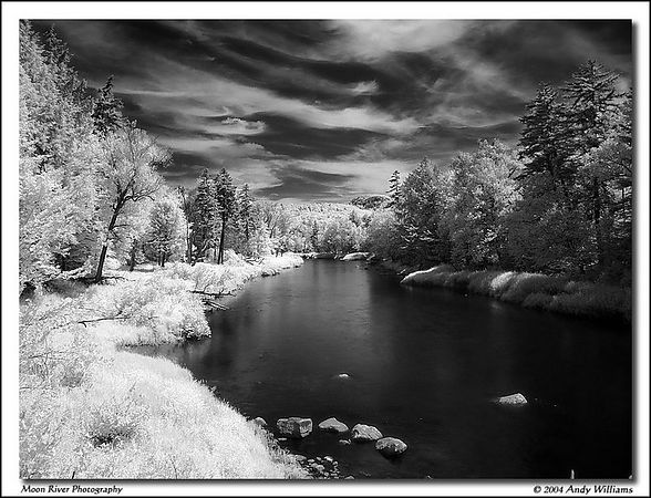 south branch of the moose river, from bisby bridge, adirondack mountains of new york