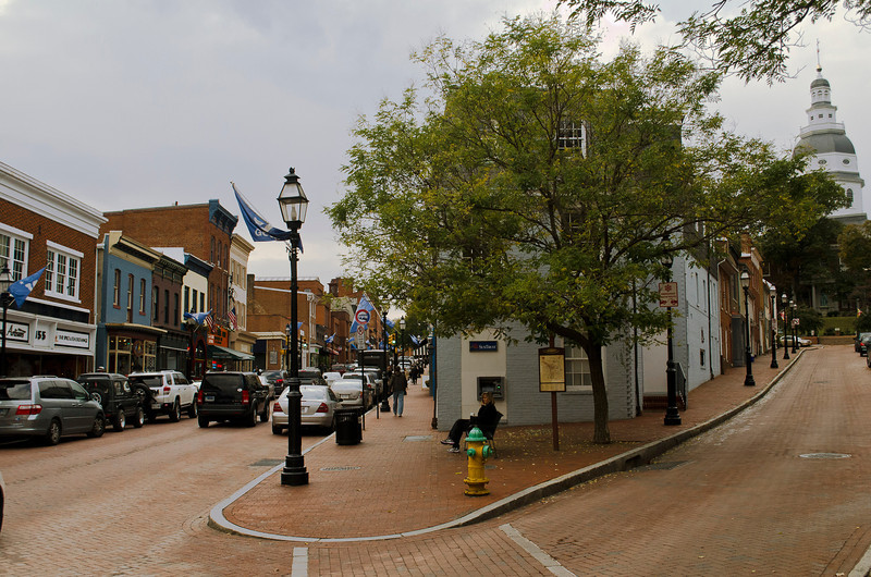 Annapolis Street Scene With Capital Building