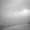 Il fait froid, on n'ouvre pas completement le folding (un Ikon 6x9) et hop! Une petite bascule involontaire. Coucher de Soleil sur la rade de Marseille pendant qu'il neige abondamment sur Allauch.