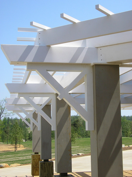 Close-up view of the PVC Brackets on Clubhouse Veranda