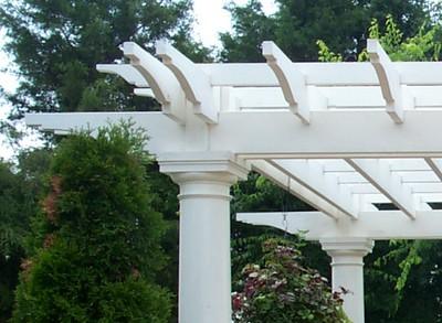 Decorative ends on a PVC Trellis wtih Round Fiberglass Columns