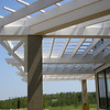 Close-up view of PVC Brackets and trellis on Clubhouse veranda