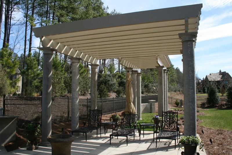 PVC Trellis w/ Stone Columns