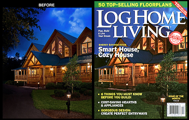 Log Home Living Magazine<br /> Photography Enhancement for Cover Image