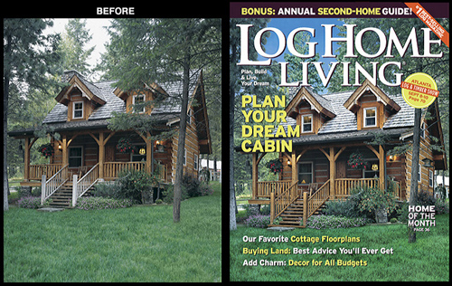 Log Home Living Magazine <br /> Photography Enhancement for Cover Image