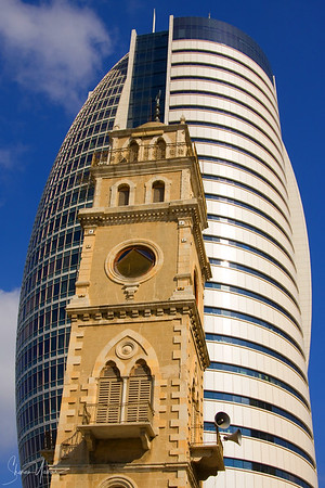 Old and new towers in Haifa, Israel