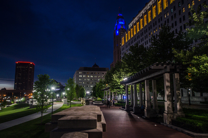 Scioto Mile Promenade at night