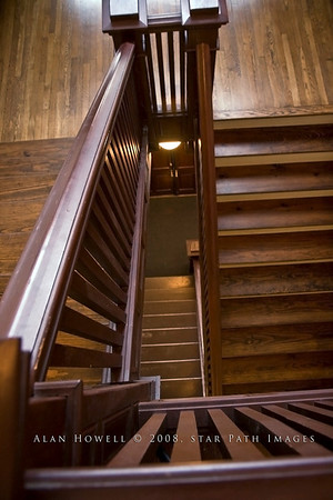Historic Jamestown Library stairway.