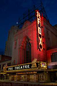 Nightime photo of the exterior of the Fox Theatre taken July 10, 2012.