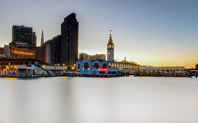 """Ferry Building Long Exposure<br /> I have a school project rebuilding the Ferry Building website. So that means I will be around the Ferry Building a lot more studying it and taking pictures. I like image rich websites so I need a lot of pictures. Best of both worlds on this project! <br /> <br /> Canon 5D MK III<br /> Canon 17-40mm f/4 L<br /> Induro CT214 Tripod<br /> ISO 100<br /> f/18<br /> 5 Shot HDR<br /> More - <a href=""""http://smu.gs/QbDrEF"""">http://smu.gs/QbDrEF</a>"""