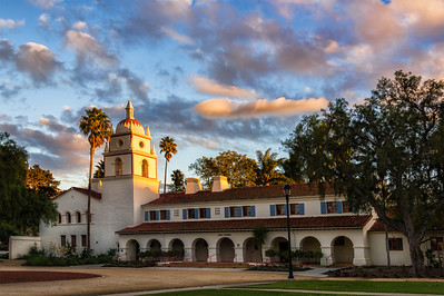 The infamous Bell Tower on the campus of California State University Chanel Islands.    Once housing psychiatric inmates, today it glows in a Fall sunset.
