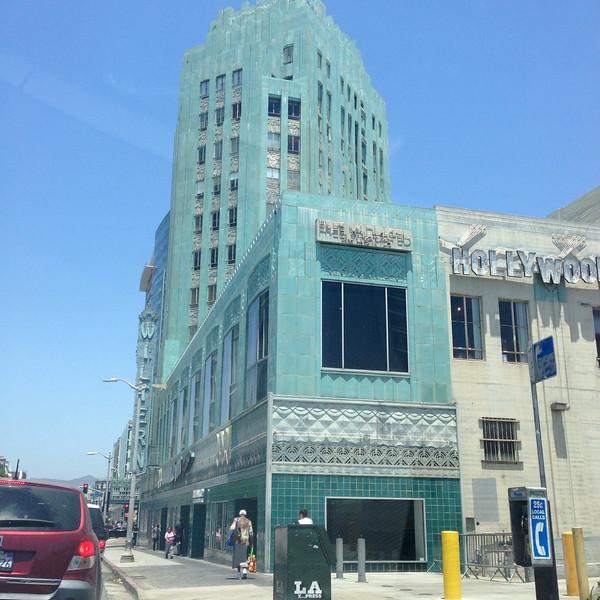 Wiltern Theater, Los Angeles<br /> Historic Art Deco theatre's facade features beautiful blue-green-glazed terra cotta tiles.