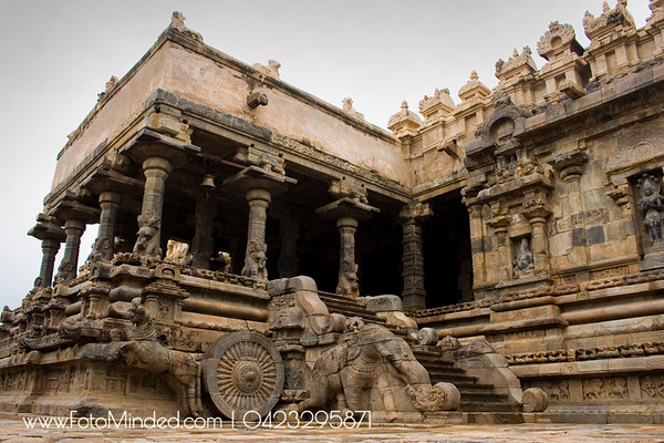 Side Entrance of Tarasuram Big Temple, India.  If you see the elephant, horse, wheel and other statues closely, they are not made of single rock.  Photography: Karthik TK