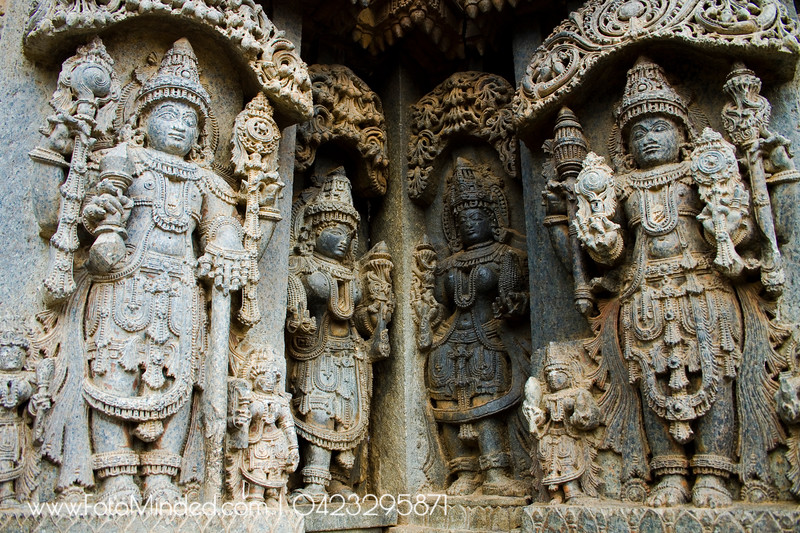Great details of the statues of Chennakeshava Temple, Somanathapura, India. High degree of attention was given to the every part of the statues which includes the jewel and other ornament worn by the God and Goddess