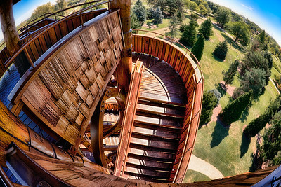 The Tower stairs at Cox Arboretum in Dayton, Ohio.  Fisheye lens used.