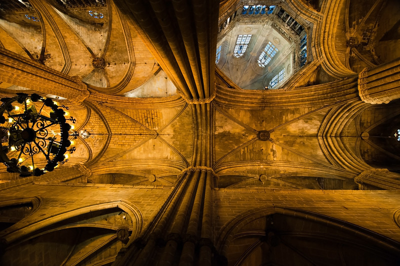 Ceiling of the Cathedral of the Holy Cross and Saint Eulalia - a gothic cathedral in Barcelona, Spain<br /> <br /> 16x24 float plaque in stock