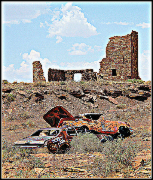 "Rt. 66 in Arizona  ""Photopainting""  <b>Copyright © Florence T. Gray. This image is protected under International Copyright laws and may not be downloaded, reproduced, copied, transmitted or manipulated without written permission.</b>"