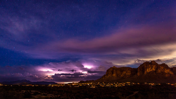 Monsoon's and starry nights covering Arizona cities and mountains.