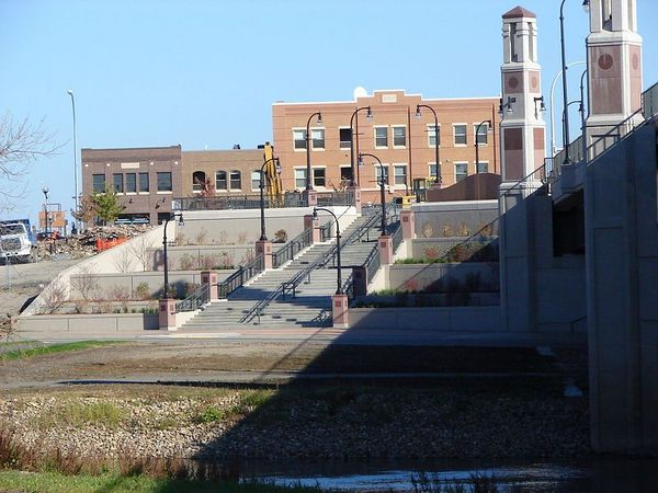 The Moorhead side. Why the elaborate stair case going down to a bike path? I don't know.