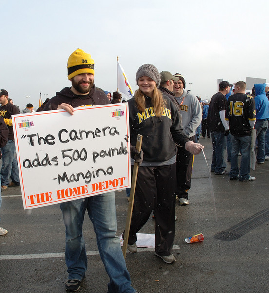 Signs by MU fans at Arrowhead for MU's annual thrashing of KU.