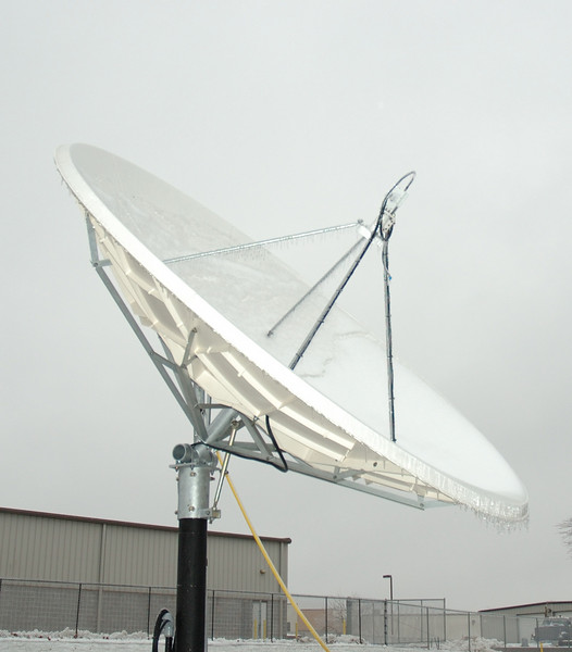 Icy satellite dish at the office.