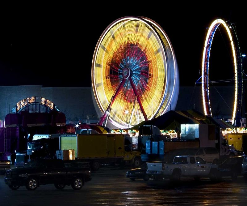 Traveling carnival in the Blue Ridge Mall parking lot.