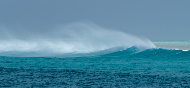 Windswept surf in the Maldives