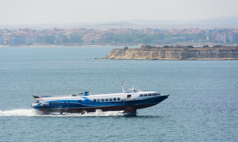 A hydrofoil ferry arrives in Nessebar, Bulgaria