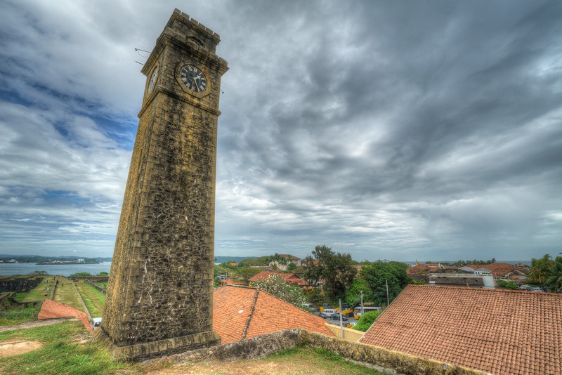 Old clock tower at the Dutch Fort in Galle, Sri Lanka