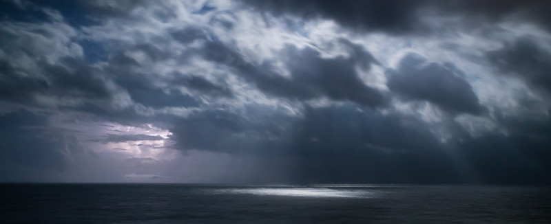 Lightning and moon light in the Gulf of Mexico