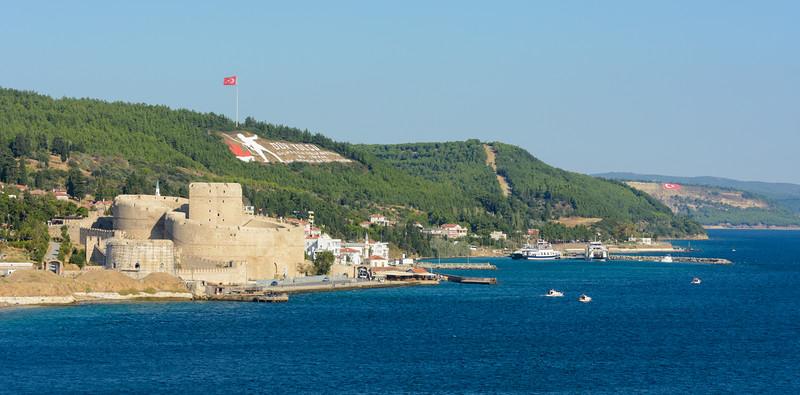 Passing through the Dardanelles near Canakkale, Turkey. War Memorial.