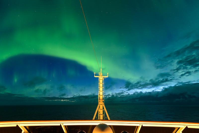 Aurora southeast of Iceland