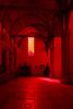 Red filter art exhibit at De Oude Kirk, Amsterdam, Netherlands