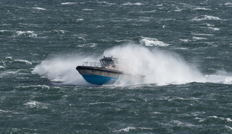Pilot boat near New York and a windy day