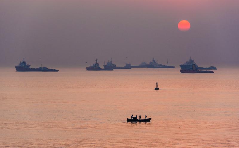 Sunrise in Mumbai, India