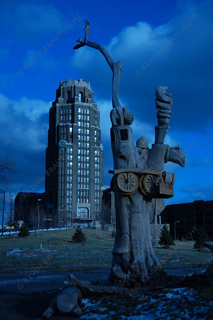 Tree carving in front of the Central Terminal, Buffalo, New York