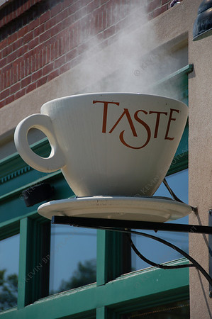 Steaming cup of coffee, outside the Taste coffee shop, East Aurora, New York