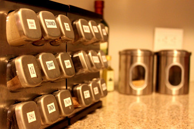 Spice rack and coffee.
