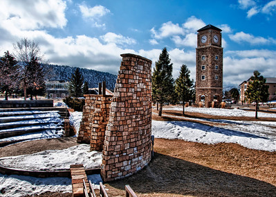 On the campus of Fort Lewis College in Durango, Colorado, the watch tower and amphitheater rise from the receding Spring snow.