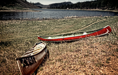 Canoes high and dry in Autumn